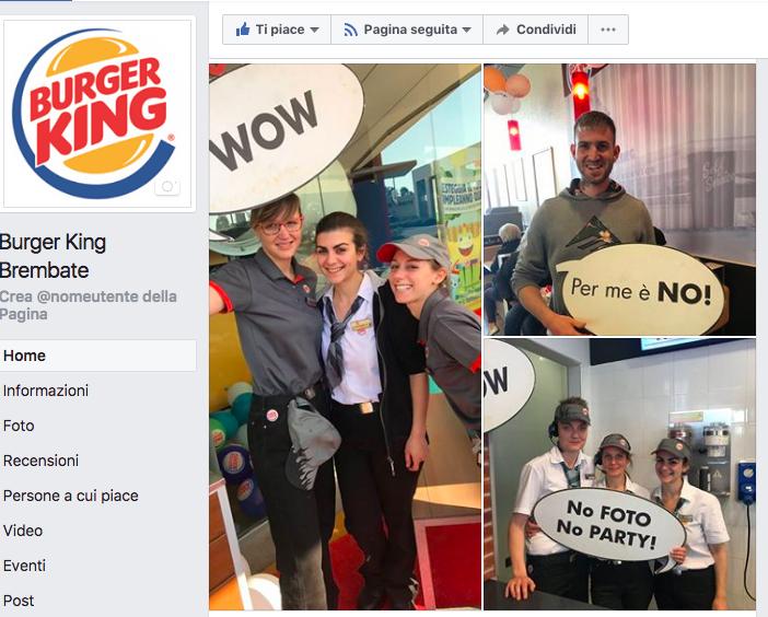 pagina Facebook Burger King Brembate
