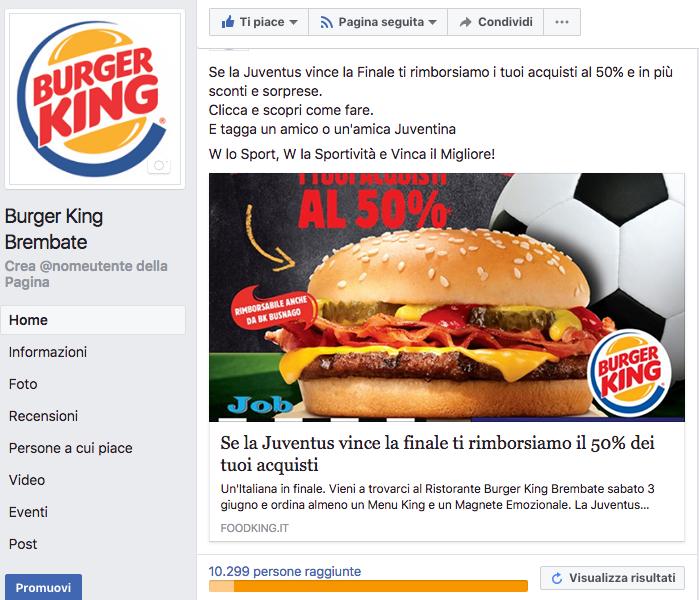 Pubblicità Facebook realizzata per Foodking.it